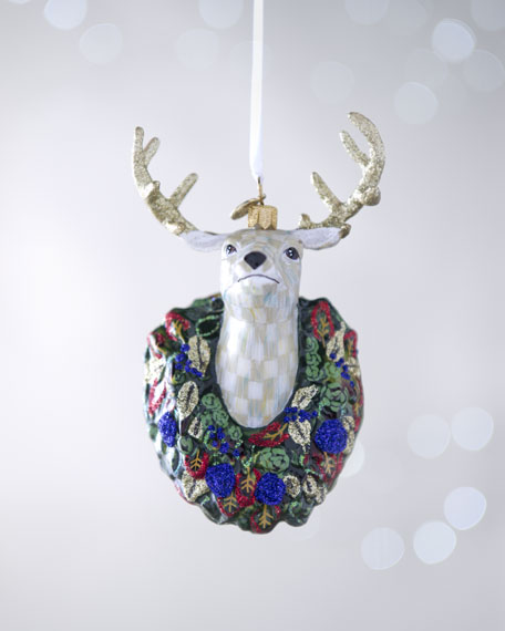"""Parchment Check"" Deer Holiday Ornament"