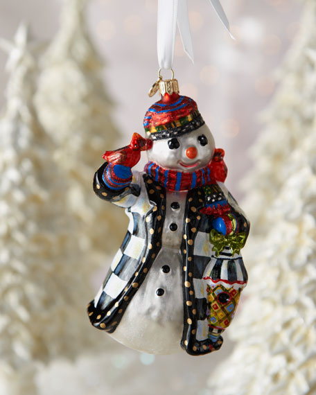 """""""Feathered Friend"""" Snowman Ornament"""