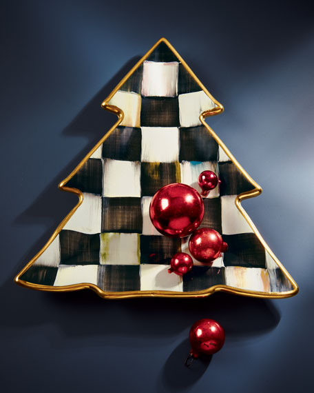 Courtly Check Christmas Tree Plate