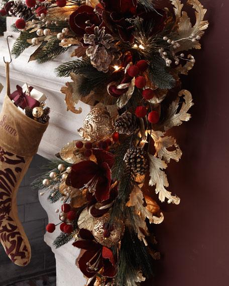 Pre-lit Burgundy & Gold Christmas Garland