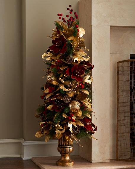 Burgundy & Gold Tree Topiary