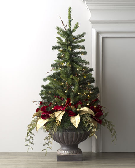Mixed Pine Christmas Tree in Urn