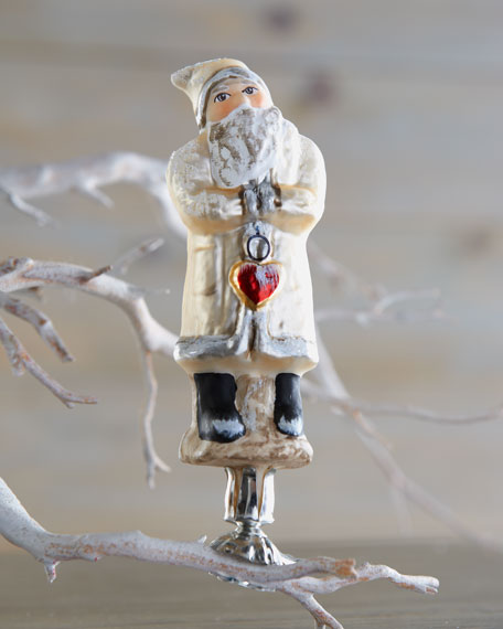 """""""Santa with a Hanging Heart"""" Holiday Ornament"""
