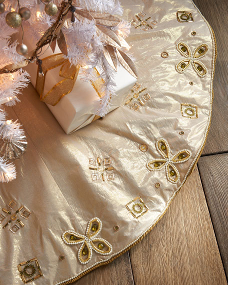 Bronze-Gold Holiday Tree Skirt