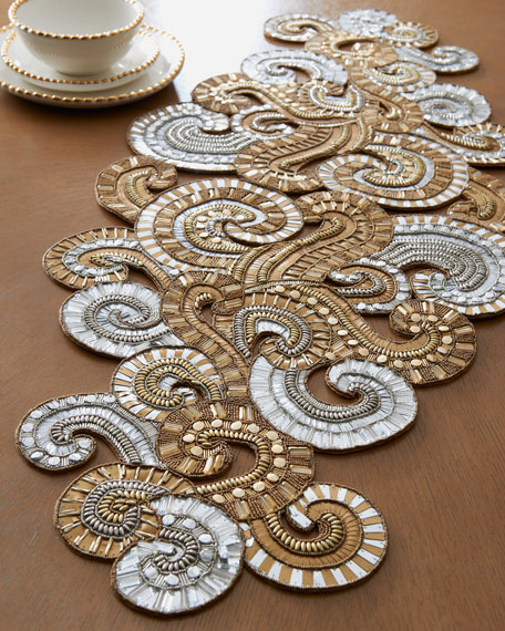 Gold & Silver Swirl Table Runner