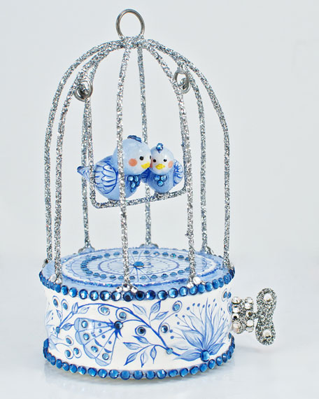 """Song of Spring"" Bird Cage Ornament, Blue"