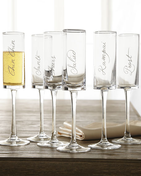 """Six """"Cheers"""" Stemmed Flutes"""