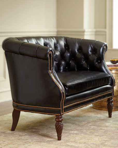 """""""Gables"""" Tufted-Leather Settee"""