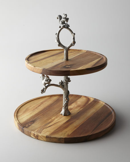 Two-Tier Tray with Squirrel Stem