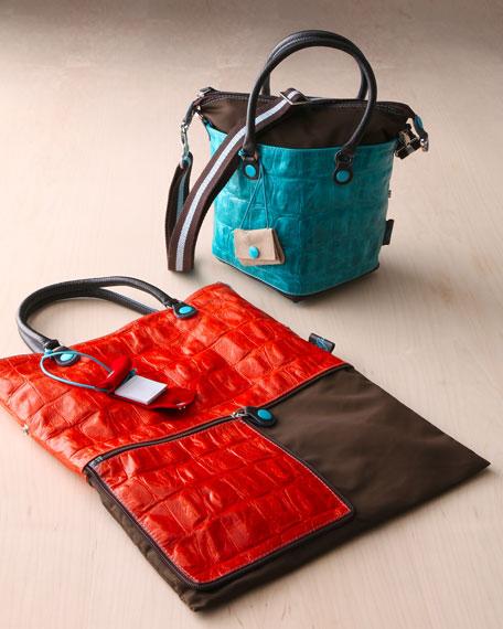 Patti Convertible Crocodile-Embossed Leather Tote/Handbag