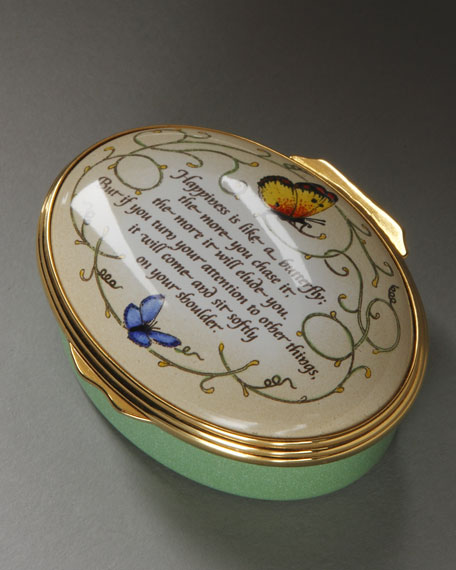 """Happiness Like a Butterfly"" Enameled Box"