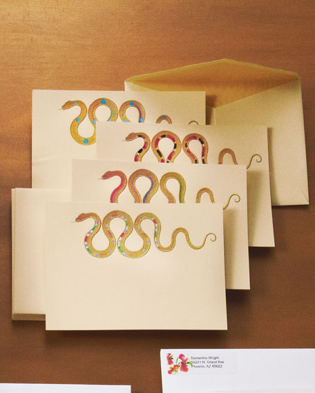 Eight Hand-painted Snake Cards & Envelopes