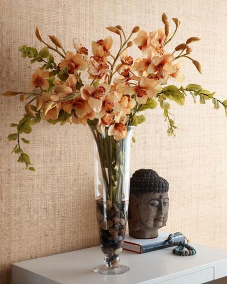 Orange Orchid Faux Floral Arrangement