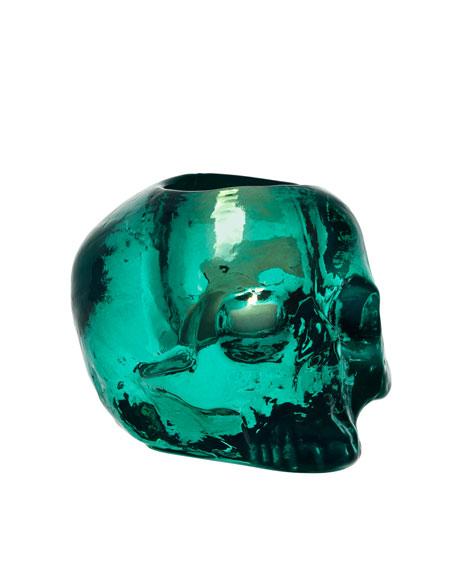 """Green """"Still Life"""" Skull Candleholder"""