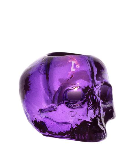 """Purple """"Still Life"""" Skull Candleholder"""