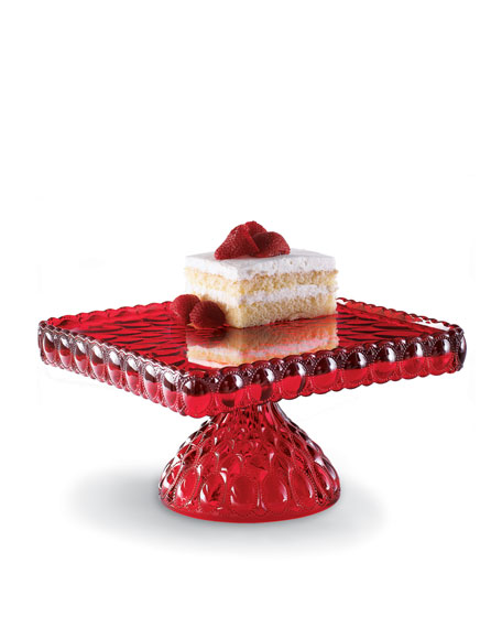 Red Glass Cake Plate