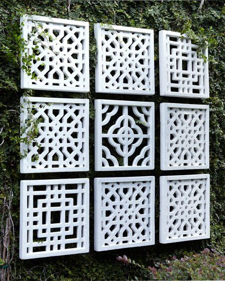 Nine Geometric Fretwork Wall Decor Panels