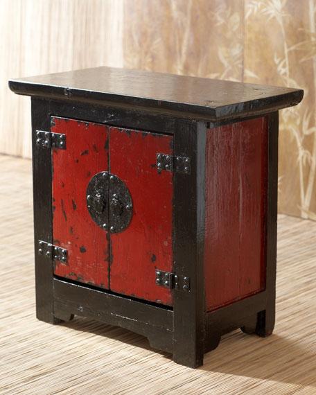 Antique Red & Black Side Cabinet
