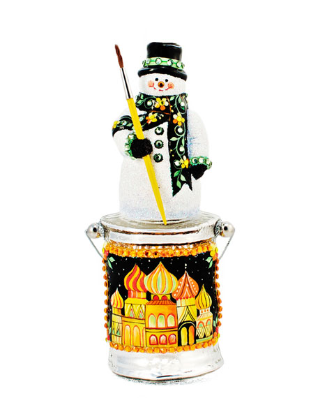 """""""Painterly Snowman on Paint Can"""" Christmas Ornament"""