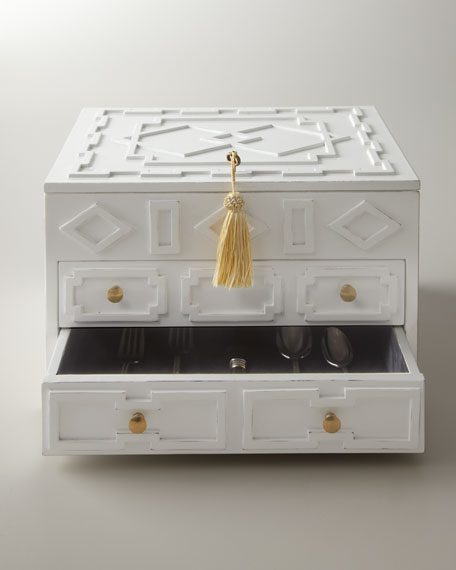 White Lacquered Flatware Chest