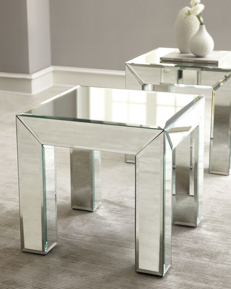 """Toshie"" Mirrored End Table"