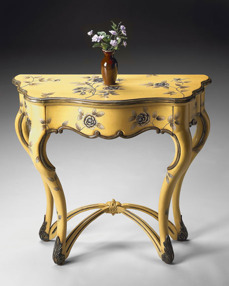 Hand-Painted Floral Console Table