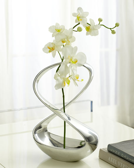 """Infinity"" Vase With Silk Orchid"