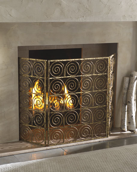 Spiral Three-Panel Firescreen