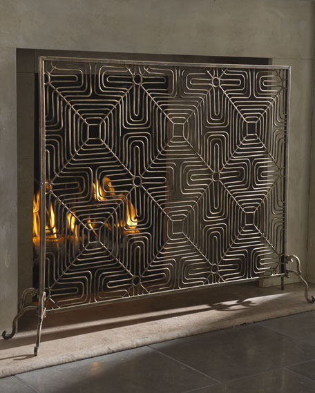 Golden Diamond-Weave Firescreen