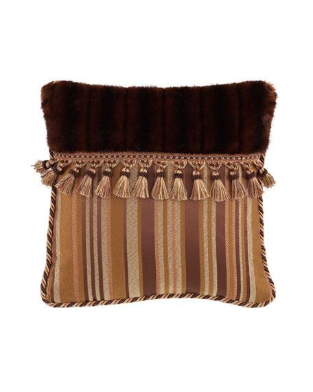 "Carlisle Pillow with Faux-Fur & Tassels, 18""Sq."