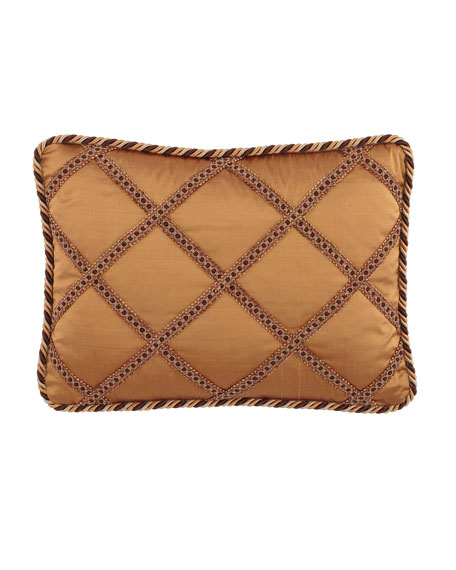 "Carlisle Silk Pillow with Gimp Lattice, 13"" x 20"""