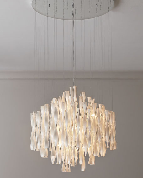 """Milk-Glass Swirls"" Chandelier"
