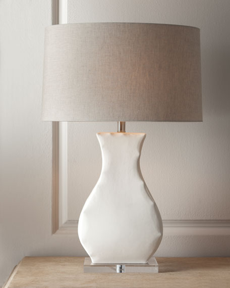 """Cinched"" White-Base Lamp"