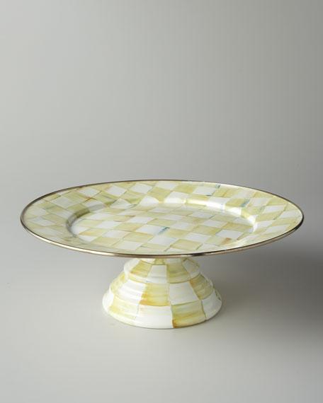 MacKenzie-Childs Parchment Check Large Pedestal Platter