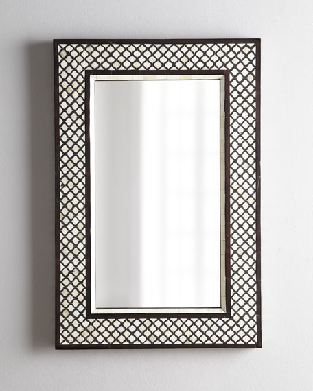 "Rectangular ""Mughal"" Bone Mirror"