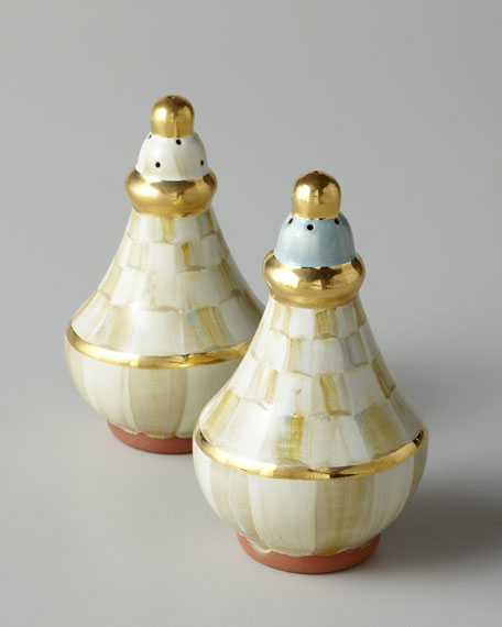 """Parchment Check"" Salt & Pepper Set"