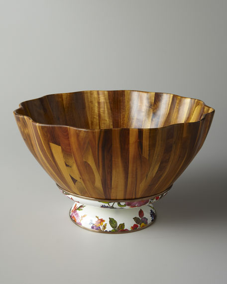 Flower Market Fluted Wooden Salad Bowl