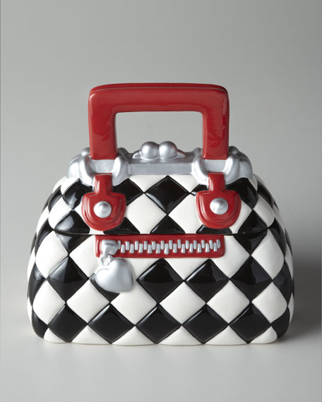 Black-and-White Check Purse Cookie Jar