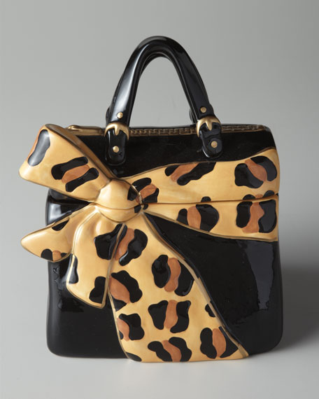 Leopard Bow Purse Cookie Jar