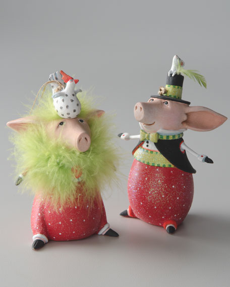 """Pierre"" & ""Phyllis"" Pig Christmas Ornament"
