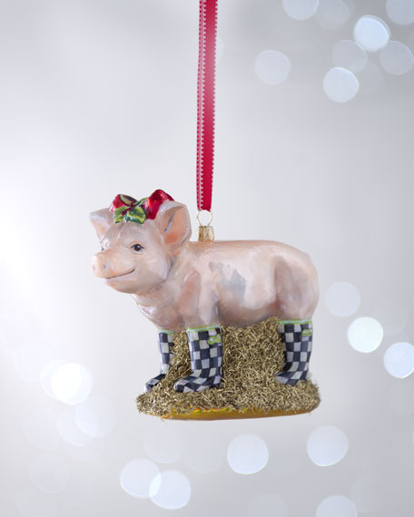 Pig in Courtly Check Boots Christmas Ornament