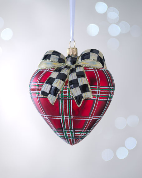 Tartan Heart with Courtly Check Bow Christmas Ornament
