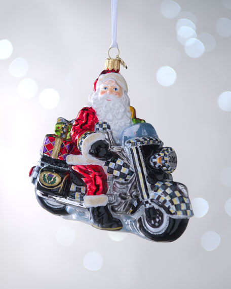 """Santa on Motorcycle"" Christmas Ornament"