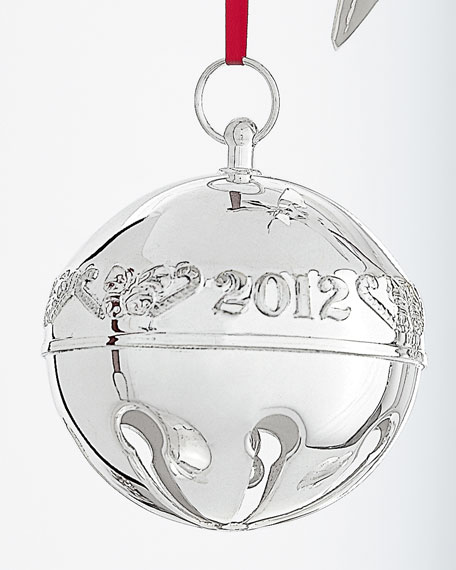 2012 Silver-Plated Sleigh Bell Christmas Ornament