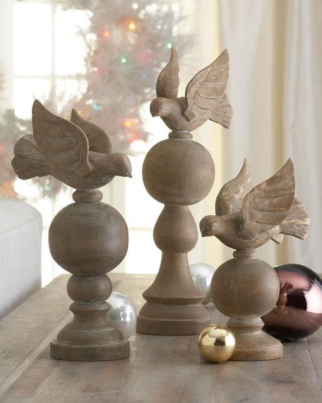 """""""Joyeux Noel"""" Wooden Doves on Orbs"""