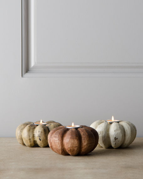 Three Fall Pumpkin Candleholders