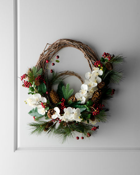Berry & White Floral Twig Wreath