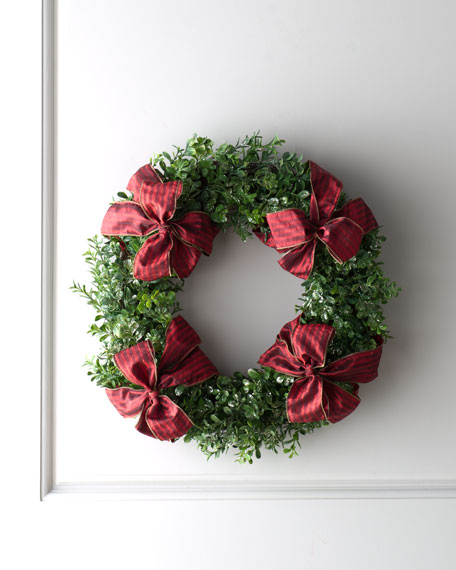 Boxwood Wreath with Red Bows