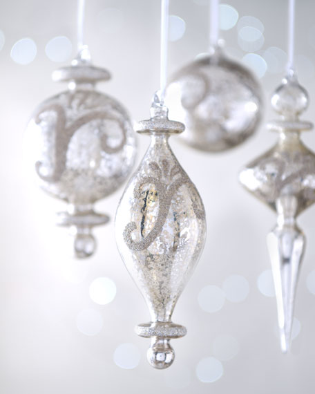"Eight ""Joyeux Noel"" Mercury-Style Glass Christmas Ornaments"