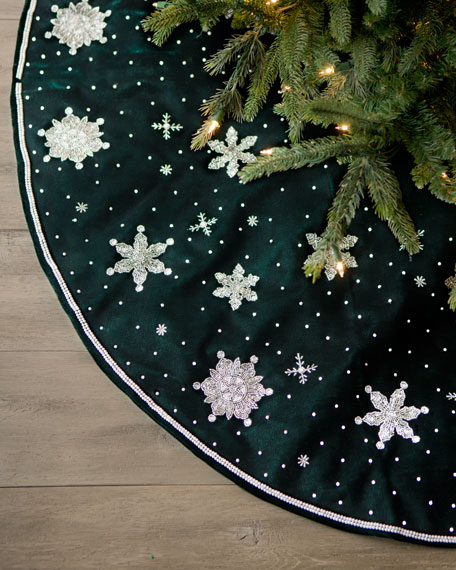 Green Velvet Christmas Tree Skirt